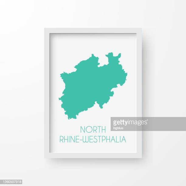 north rhine-westphalia map in a frame on white background - north rhine westphalia stock illustrations
