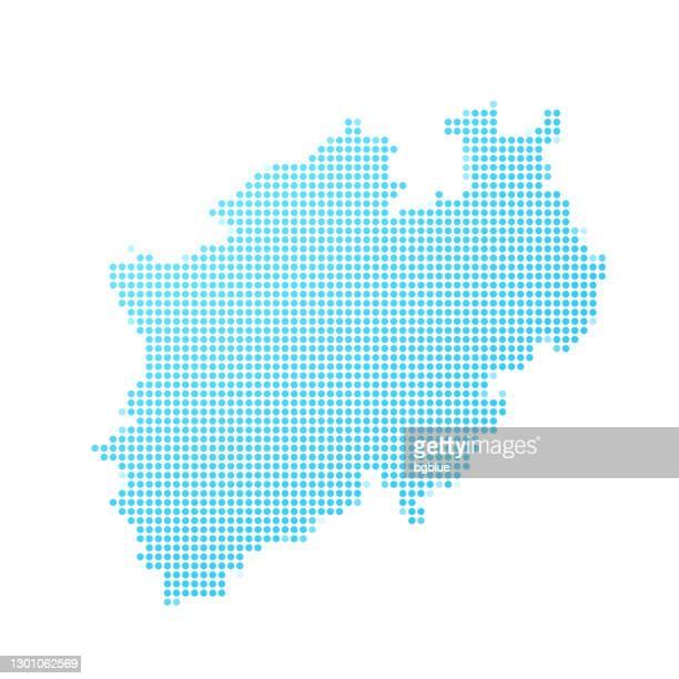 ilustrações, clipart, desenhos animados e ícones de mapa da renânia do norte-vestfália em pontos azuis no fundo branco - north rhine westphalia