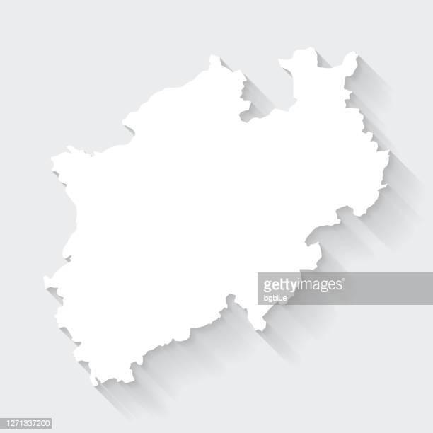 north rhine-westphalia map with long shadow on blank background - flat design - north rhine westphalia stock illustrations