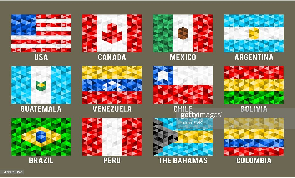 North & South America low poly flags
