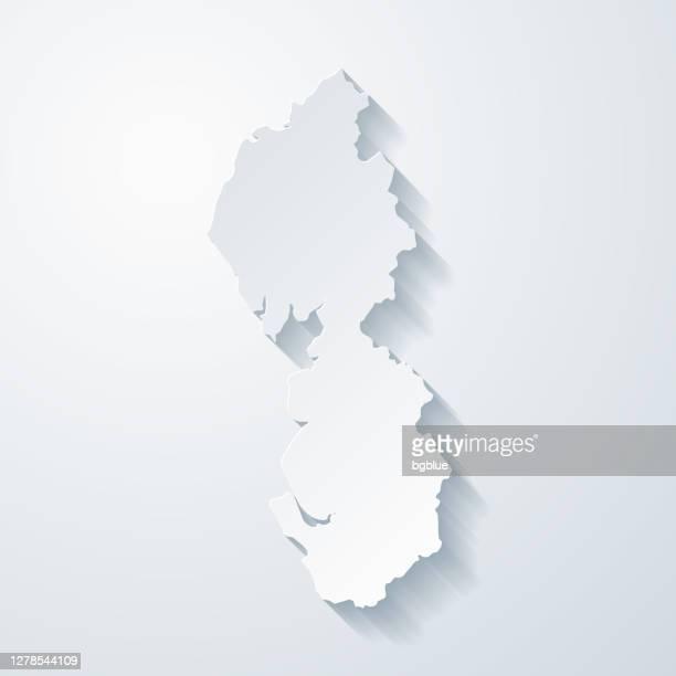 白紙の背景に紙切り効果のある北西マップ - イングランド北西部点のイラスト素材/クリップアート素材/マンガ素材/アイコン素材