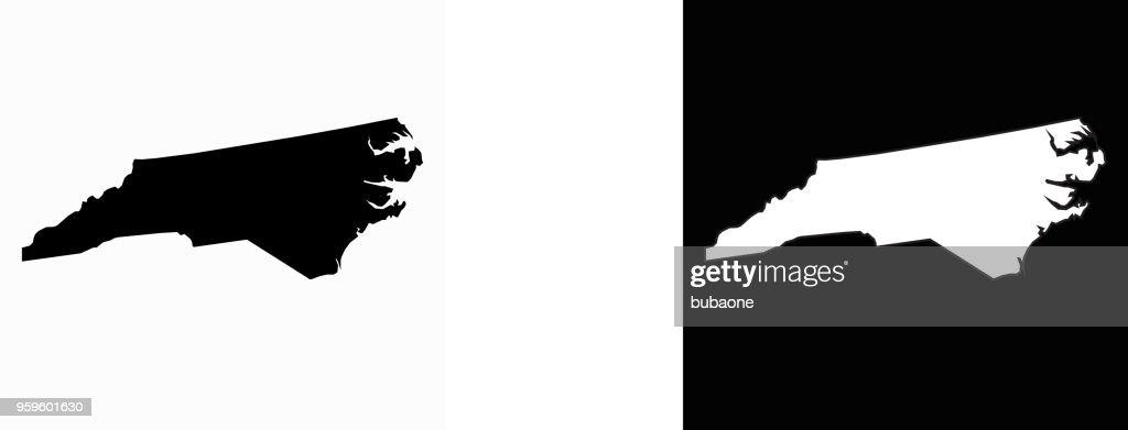 North_Carolina staatliche schwarz-weiß einfache Karte : Stock-Illustration