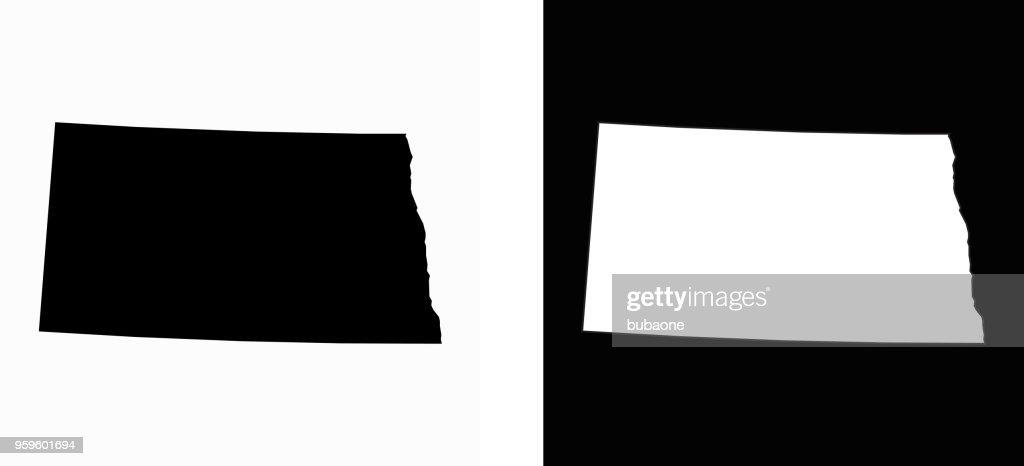North_Dakota staatliche schwarz-weiß einfache Karte : Stock-Illustration