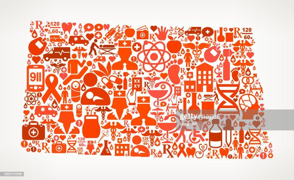 NorthDakota Icona rossa assistenza sanitaria e medica motivo : Illustrazione stock
