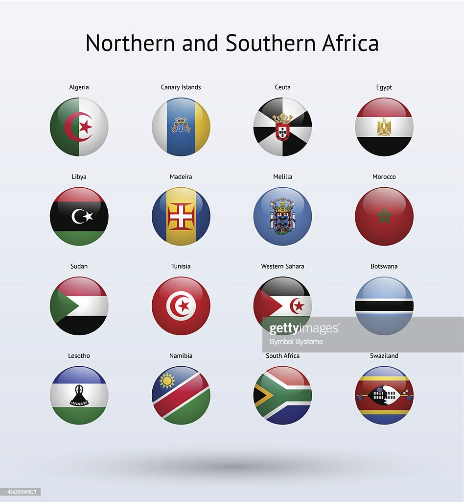 Northern and Southern Africa Round Flags Collection