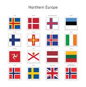 Northern Europe Postage Stamp Flags Collection