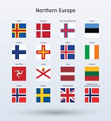 Northern Europe Square Flags Collection