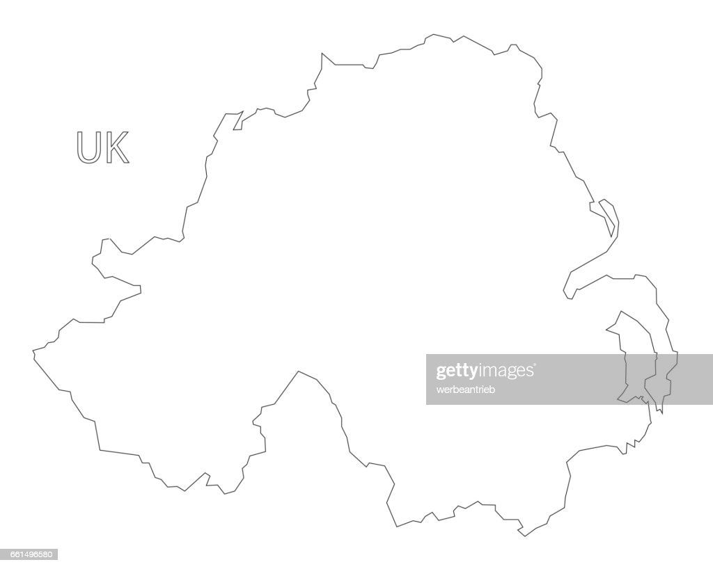 Northern Ireland outline silhouette map illustration