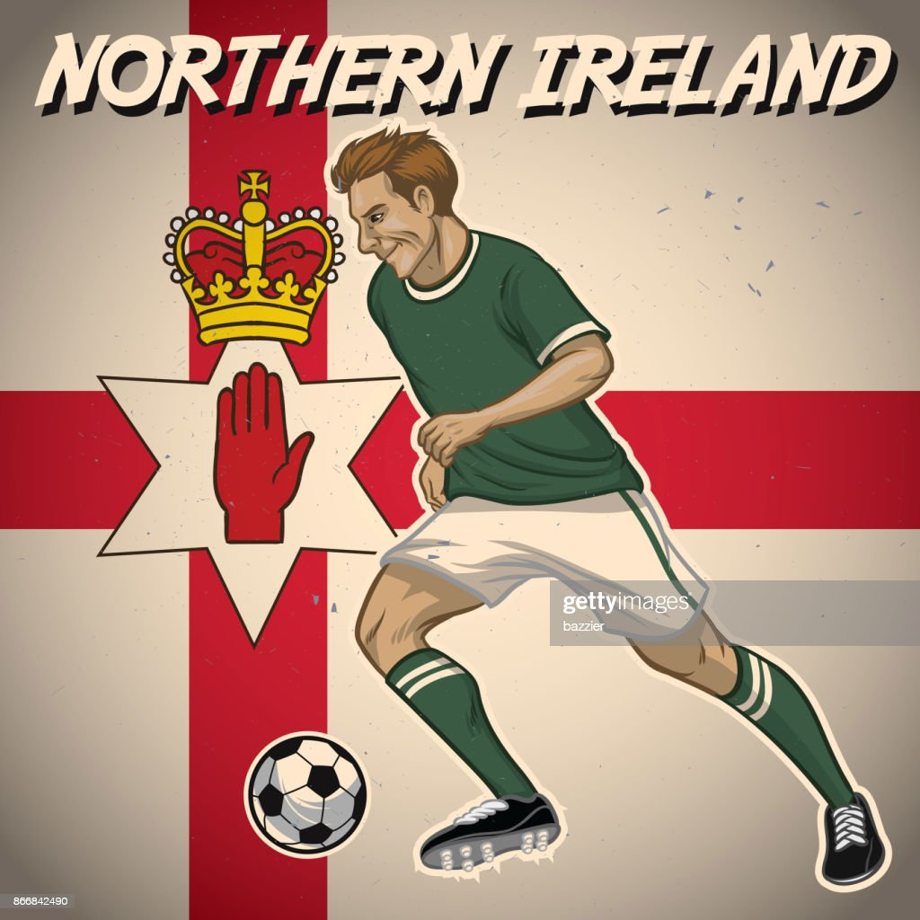 Northern ireland soccer player with flag background