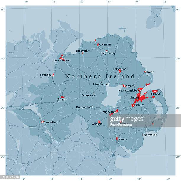 Northern Ireland Vector Road Map