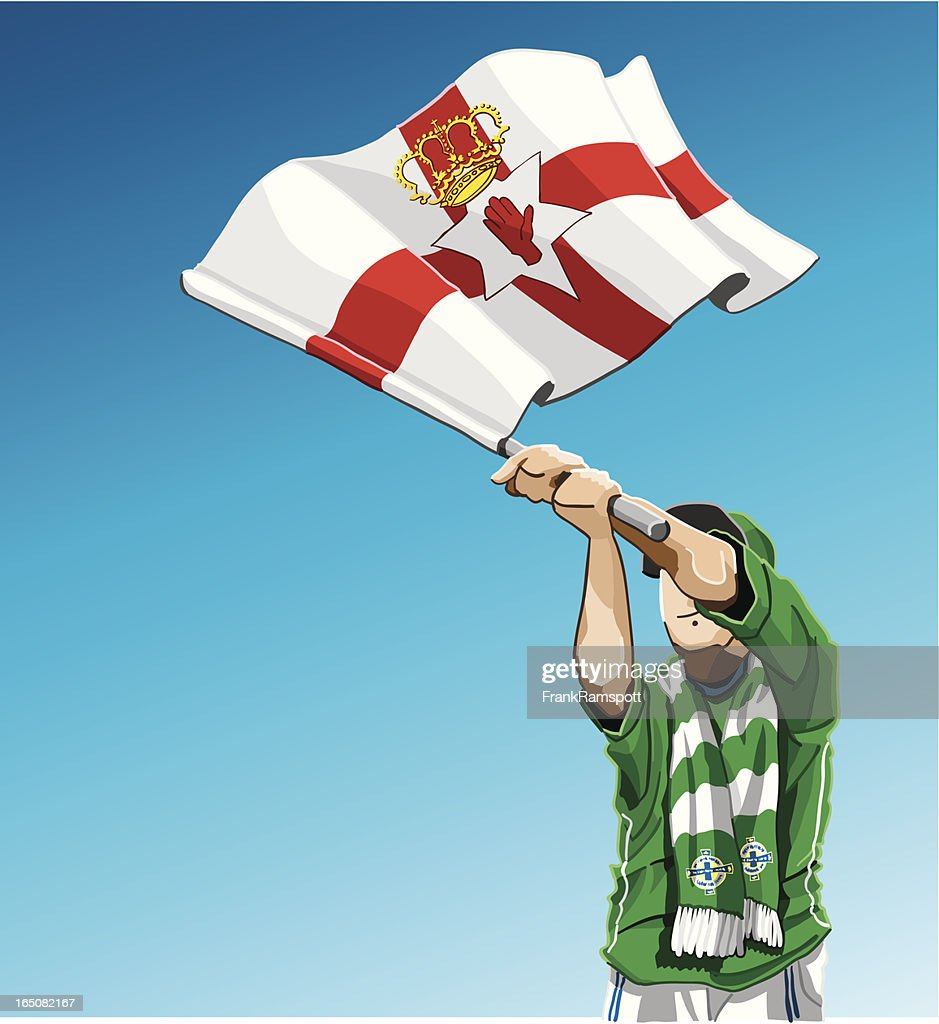 Northern Ireland Waving Flag Soccer Fan : Vector Art