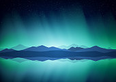 Northern landscape with Aurora, lake and mountains on the horizon.
