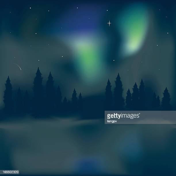 northern light aurora borealis - aurora borealis stock illustrations