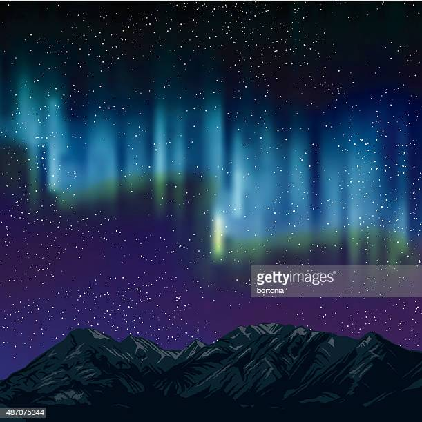 northern lights over mountains background with stars - aurora borealis stock illustrations
