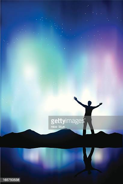 northern lights - aurora borealis stock illustrations