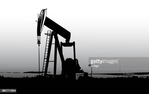 northern oil field pumps - oil pump stock illustrations, clip art, cartoons, & icons