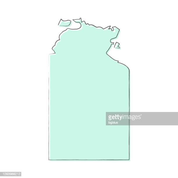 ilustraciones, imágenes clip art, dibujos animados e iconos de stock de mapa del territorio del norte dibujado a mano sobre fondo blanco - diseño de moda - territorio del norte