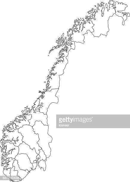 Norway black outline map on white background