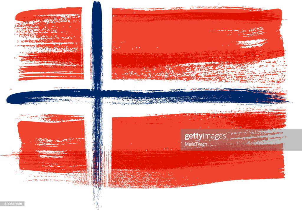 Norway colorful brush strokes painted flag