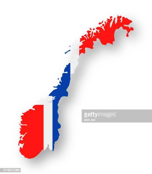 norwegen - kontur land vektor flache flaggensymbol - norwegische flagge stock-grafiken, -clipart, -cartoons und -symbole