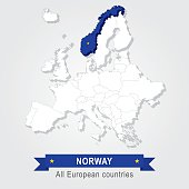 Norway. Europe administrative map.