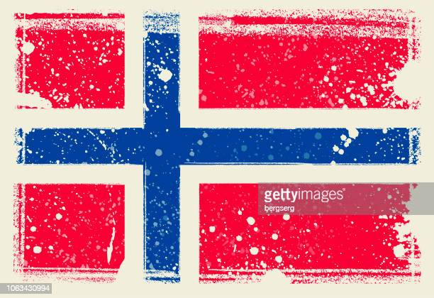 norwegen-flagge. vektor-illustration mit grunge-rahmen - norwegen stock-grafiken, -clipart, -cartoons und -symbole