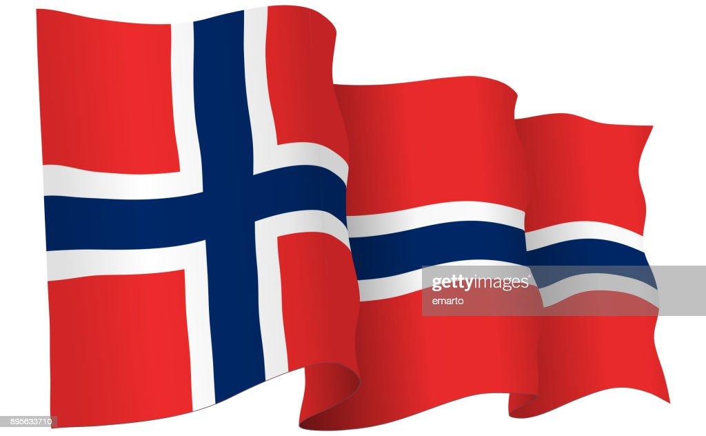 Norway Flag Waving Vector Illustration