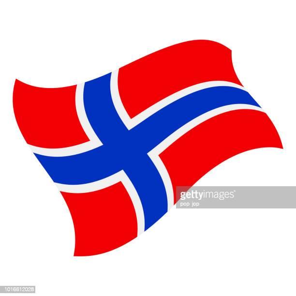 norwegen - fliegen flaggensymbol vektor flach - norwegische flagge stock-grafiken, -clipart, -cartoons und -symbole