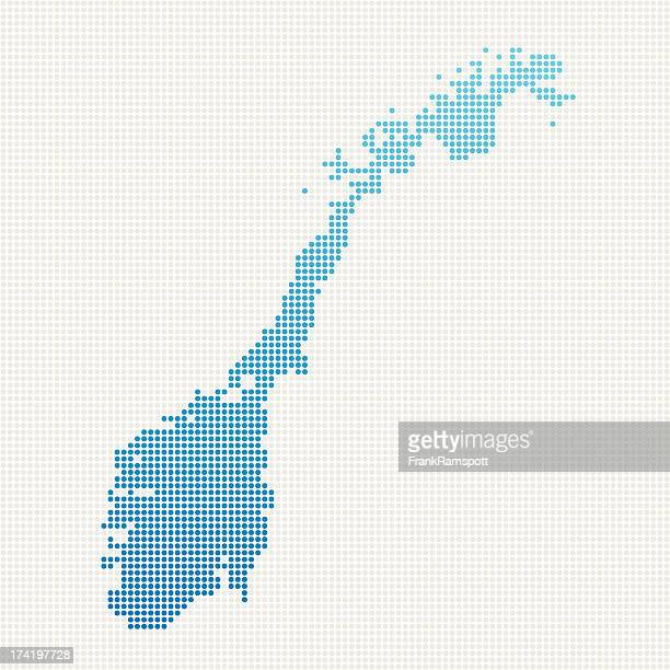 Norway Map Blue Dot Pattern