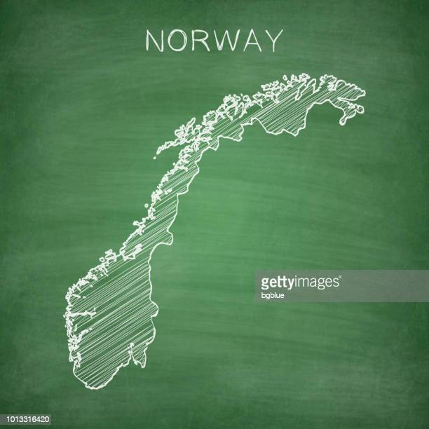 Norway map drawn on chalkboard - Blackboard