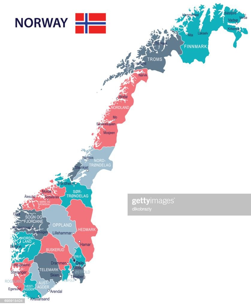 15 - Norway map - Green Pink Gray 10