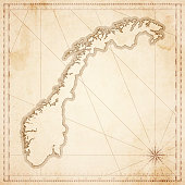 Norway map in retro vintage style - old textured paper