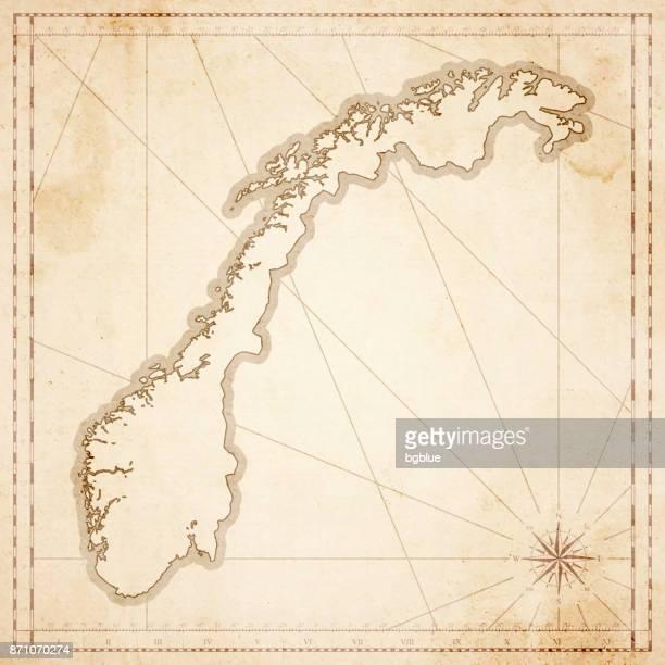 norwegen karte im retro-vintage-stil - strukturierte altpapier - norwegen stock-grafiken, -clipart, -cartoons und -symbole