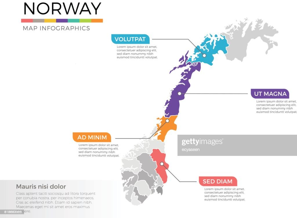 Norway map infographics vector template with regions and pointer marks