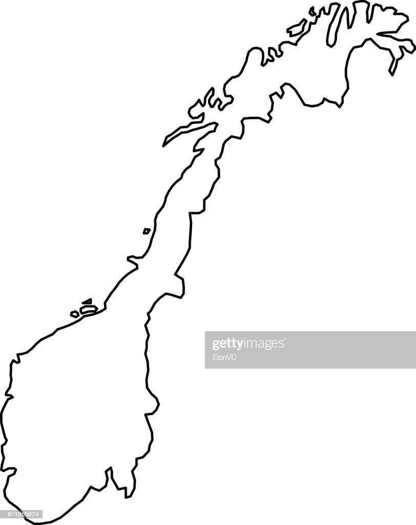 Norway map of black contour curves of vector illustration