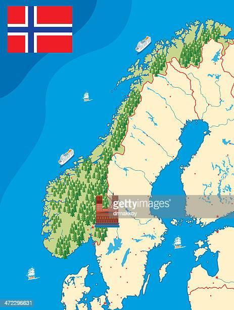 ノルウェーマップ - ローガラン県点のイラスト素材/クリップアート素材/マンガ素材/アイコン素材
