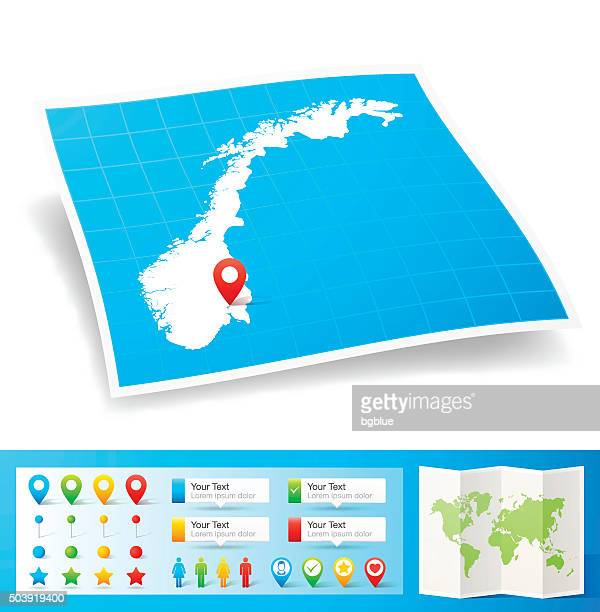 Norway Map with location pins isolated on white Background