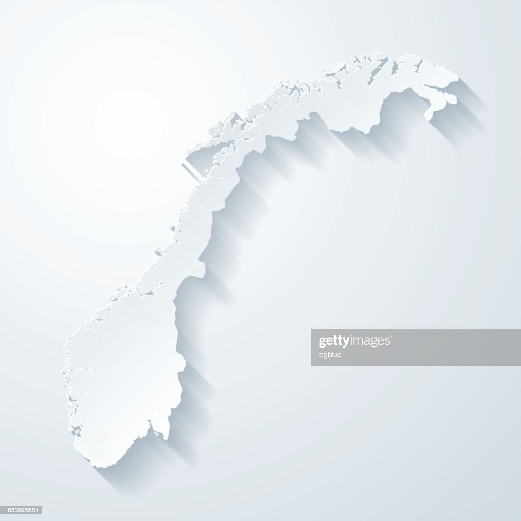 Norway map with paper cut effect on blank background