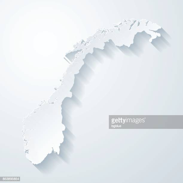 norwegen karte mit papier geschnitten wirkung auf leeren hintergrund - norwegen stock-grafiken, -clipart, -cartoons und -symbole