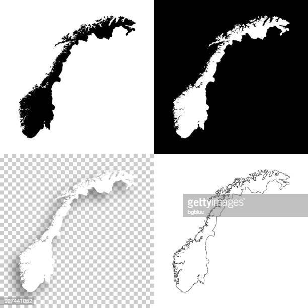 Norway maps for design - Blank, white and black backgrounds