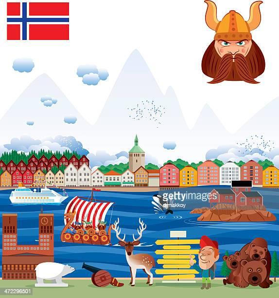 ノルウェーのパノラマ - スタバンゲル点のイラスト素材/クリップアート素材/マンガ素材/アイコン素材