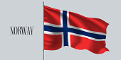Norway waving flag on flagpole vector illustration