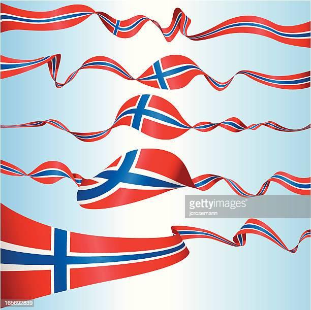 norwegische banner - norwegische flagge stock-grafiken, -clipart, -cartoons und -symbole