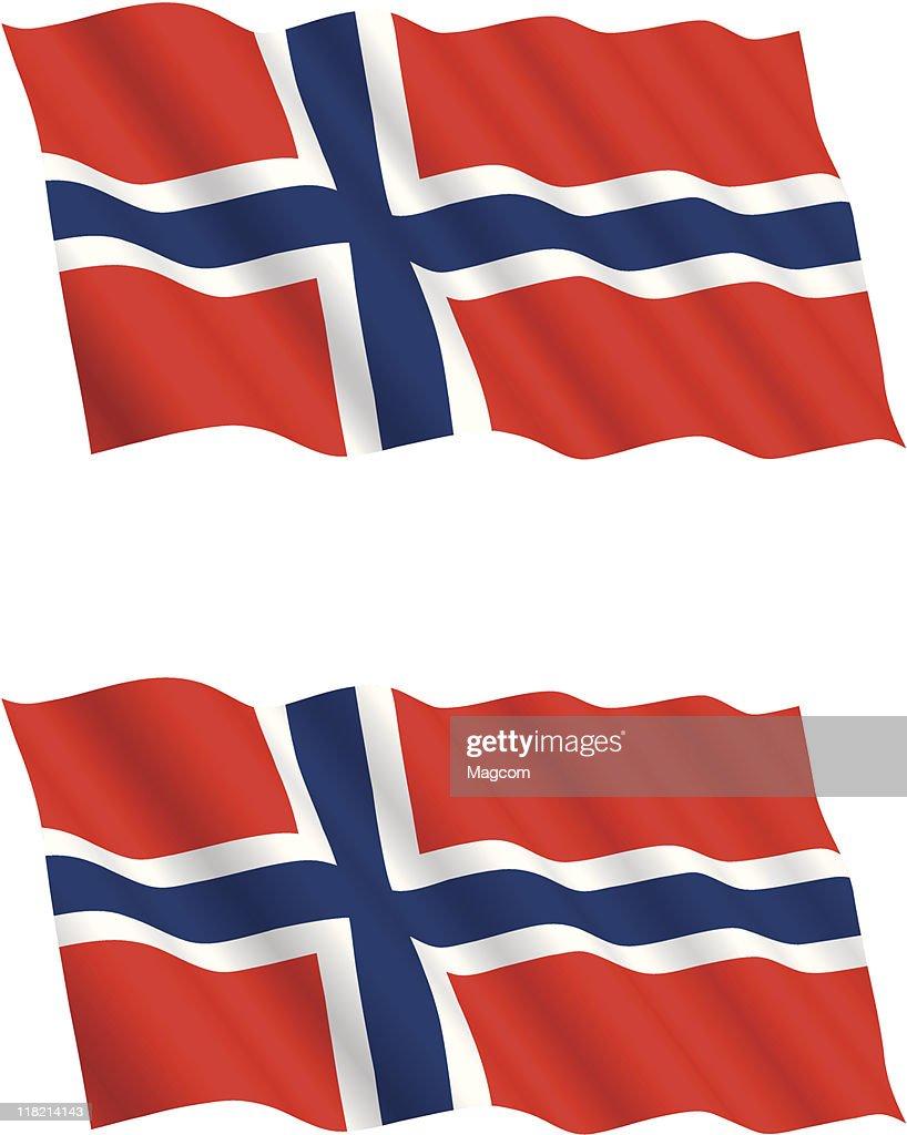 Norwegian Flag Flying in the Wind