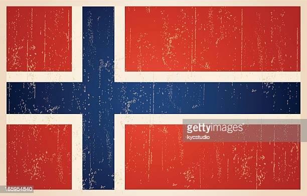 norwegische flagge im grunge und retro-stil. - norwegische flagge stock-grafiken, -clipart, -cartoons und -symbole