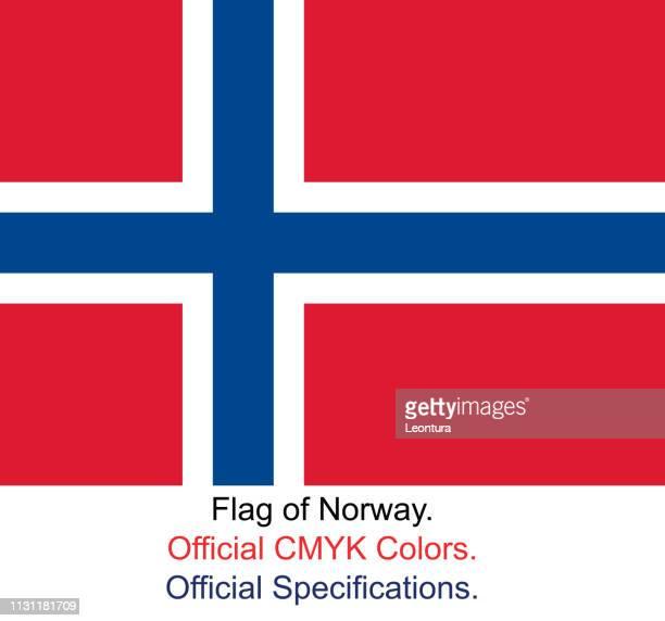 norwegische flagge (offizielle cmyk-farben, offizielle spezifikationen) - norwegische flagge stock-grafiken, -clipart, -cartoons und -symbole