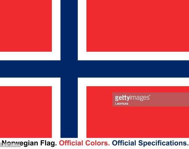 norwegische flagge (offizielle farben, offiziellen spezifikationen) - norwegische flagge stock-grafiken, -clipart, -cartoons und -symbole