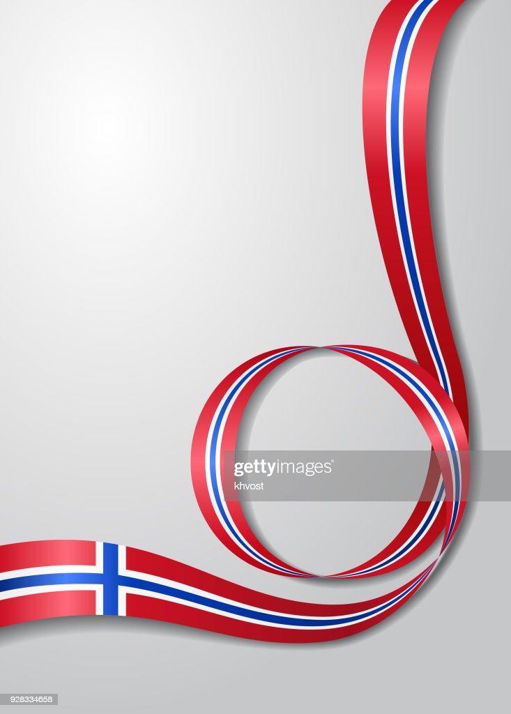 Norwegian flag wavy background. Vector illustration.