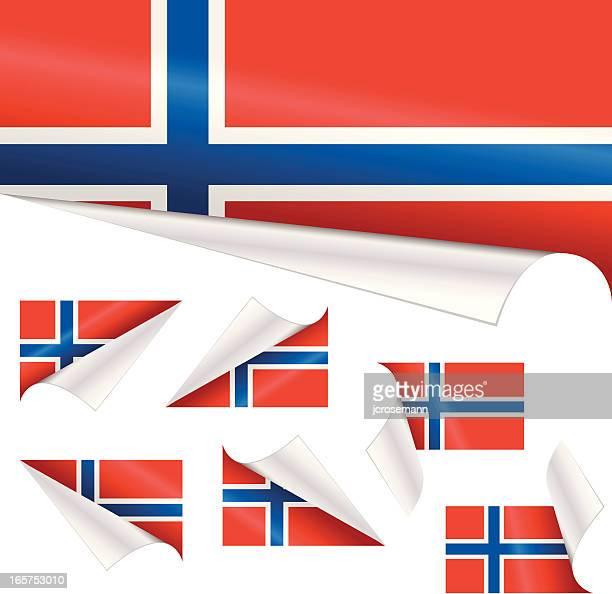 norwegische flagge hinter gelockter papier - norwegische flagge stock-grafiken, -clipart, -cartoons und -symbole