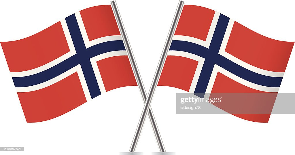 Norwegian flags. Vector.